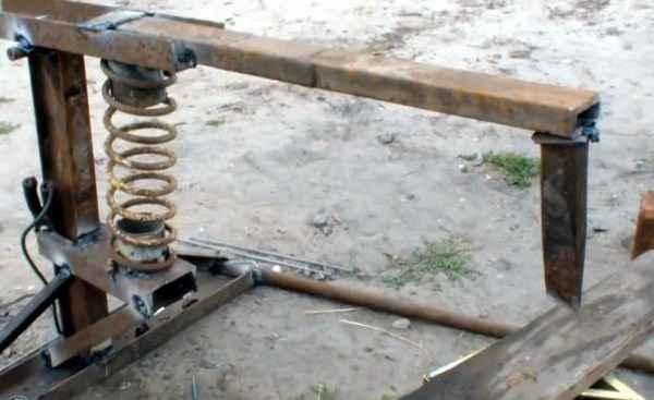 Механический дровокол своими руками из пружины амортизатора